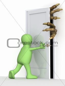 3d puppet, closing a door