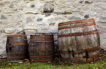 Old barrels for wine