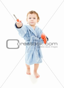 baby boy with toy tools