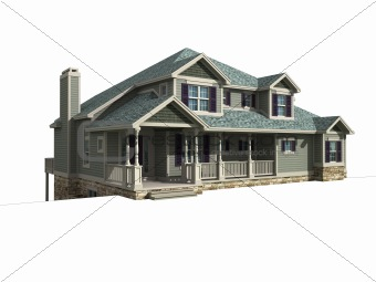 3d model of house with isolation
