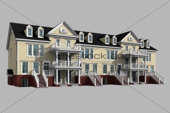3d model of condominium on gray