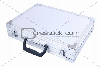 gray metal suitcase