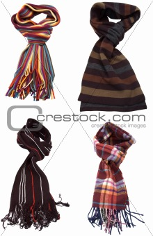 set of different multicolored scarves