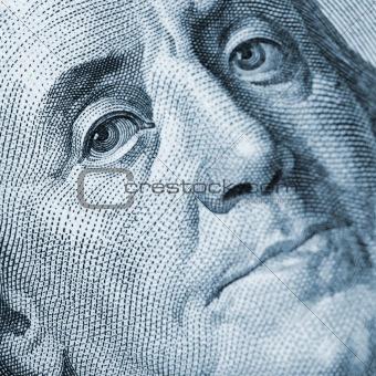 Franklin portrait closeup blue color