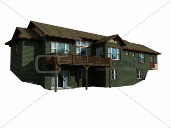 3d model of house with isolation path