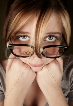 Closeup of Pretty Young Nerdy Girl