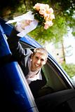 groom in the car