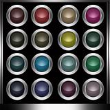 Colorful Plastic Buttons in a Metallic Frame