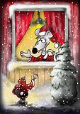 Mouse Santa in Window