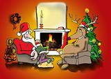 Santa and reindeer by the fire
