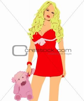 beautiful model in dress