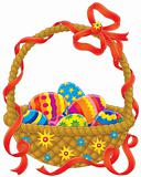 Easter basket with painted eggs