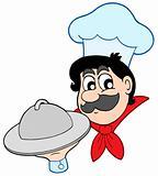 Cartoon chef with dish
