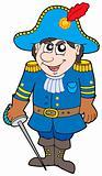 Cartoon soldier in blue uniform