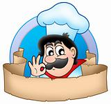Cartoon chef logo with banner