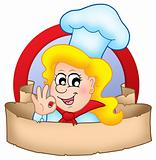 Cartoon chef woman logo with banner
