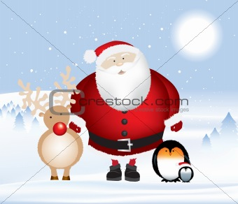 santa rudolph and penguins