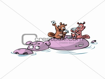 beavers playing poker