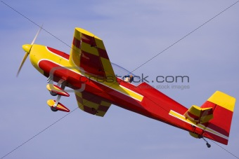 An R/C model airplane performing stunts