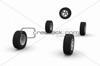 Five new off-road car wheels