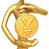 Gold Yen Coin Hovering Between Hands