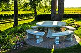 Benches overlooking vineyard