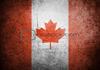 flag of Canada on old wall background