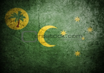 flag of Cocos Island on old wall background, vector wallpaper