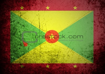 flag of Grenada on old wall background, vector wallpaper