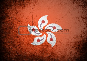 flag of Hong Kong on old wall background, vector wallpaper