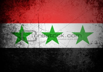 flag of Iraq on old wall background, vector wallpaper