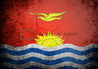 flag of Kiribati on old wall background, vector wallpaper