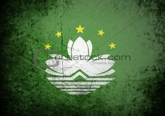 Flag of Macau on old wall background, vector wallpaper
