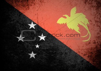 flag of Papua New Guinea on old wall background, vector wallpaper