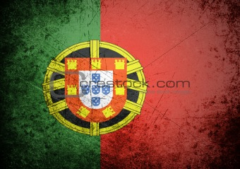 flag of Portugal on old wall background, vector wallpaper