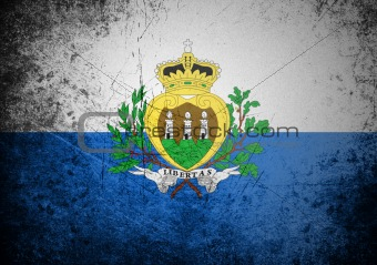 flag of San Marino on old wall background, vector wallpaper