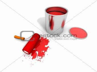 paint roller, red paint can and splashing