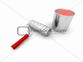 paint roller and red can
