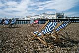 Brighton Pier and beach with deckchairs