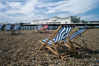 Brighton Pier and beach with deckchairs