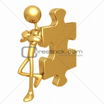 Attitude Lean Golden Puzzle Piece