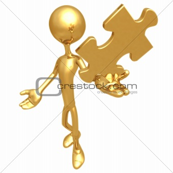 Holding Golden Puzzle Piece