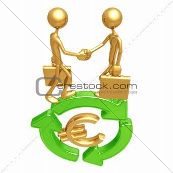 Green Business Handshake Euro
