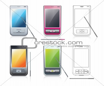 Personal Digital Assistants (PDA), 4 multicolored mobile phones