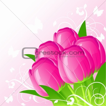 Background with pink tulips