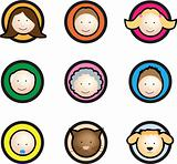 Family face icon cartoon
