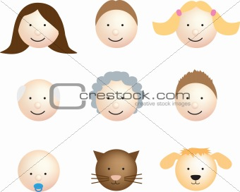 Family face icon modern