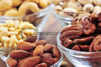 Bowls of assorted nuts