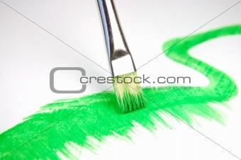 paintbrush and painted brush stroke