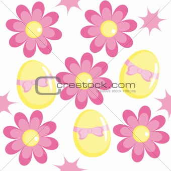 Seamless pattern with chamomiles and eggs